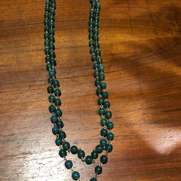 Nemesis vintage Jade beaded 60 in necklace