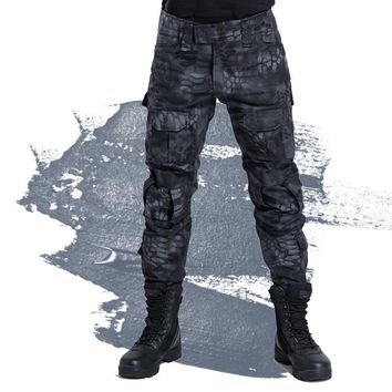 Free shipping 2017 Men's Military Snake Camouflage Tactical Pants pantalon homme Army pants Cargo army combat trousers 70707