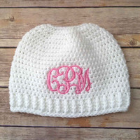 Messy Bun Beanie with Monogram - Messy Bun Hat - Ponytail Hat - Bun Hat - Monogram Gift - Monogram Beanie - Top Knot - Embrace Messy Hair