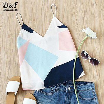 Dotfashion Womans Mixed Print Cami Tops 2017 Summer Spaghetti Strap V Neck Camisole Colorblock With Lining Casual Vests