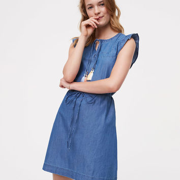 Chambray Flutter Dress | LOFT