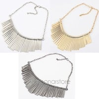 Fashion Women Ladies Tassel Choker Bib Statement Chunky Party Collar Necklace = 1946042116