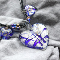 Blue Heart Murano Glass Pendant Necklace