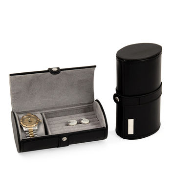 Black Leather Watch & Cufflink Travel Case with Snap Closure