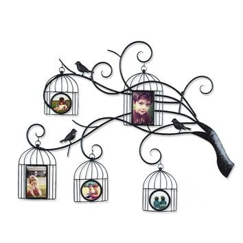 Brown Black Decorative 5-Opening Collage Bronze Iron Metal Wall Haning Family Tree Scroll Picture Photo Frame [PF0596]