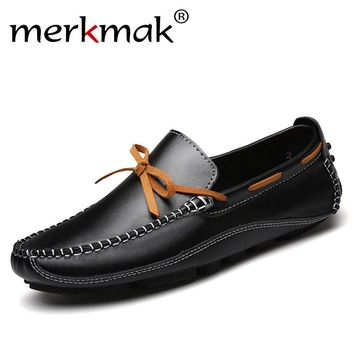 Merkmak Luxury Brand Genuine Leather Men Flats High Quality Men Loafers Men Moccasin Slip On Men Leather Shoes Drop Shipping