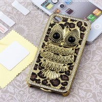Pandamimi Deluxe Sliver Chrome Glitter Bling Leopard Crystal Rhinestone Owl Hard Case Skin Cover for Apple AT&T Sprint Verizon iPhone 4 4S 4G:Amazon:Cell Phones & Accessories