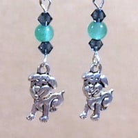 Doggy Charm Earrings, Teal Glass Bead & Blue Crystal Earring w/Happy Puppy Charms, Silver Charm Glass Bead Earrings, Handmade Beaded Jewelry