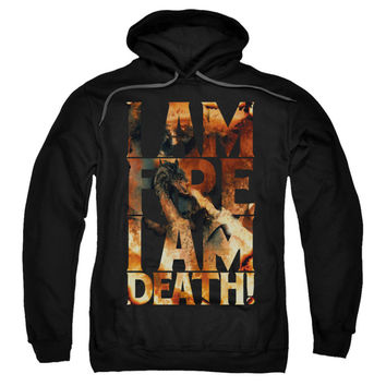 Hobbit Men's  I Am Fire Hooded Sweatshirt Black Rockabilia