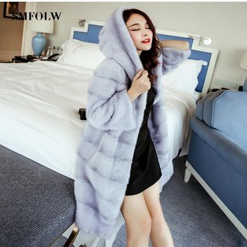 SMFOLW 2018 Fashion Popular Faux Fur Coat Women Fur Coat Elegant Women Long Fur Coat Women Coat Imitation Mink Fur Jacket