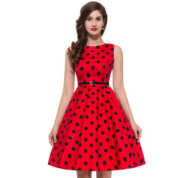 Dmart7dealWomen Summer Style Inspired Vintage clothing Retro 50s Big Swing audrey hepburn Pinup Polka Dot plus size Woman Dresses vestidos