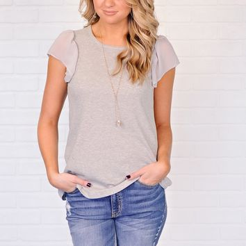 * Reese Top WIth Chiffon Sleeves : Grey