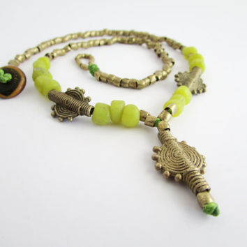 Lemon Green Ethnic Necklace, Beaded Jewelry, Glass and Brass Baule African Beads
