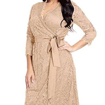 Womens Plus Size Floral Lace 3/4 Sleeves Formal True Wrap Dress Cocktail