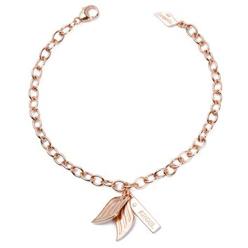 .925 Silver Guardian Angel Charm Diamond Bracelet (Includes 1 Diamond) - Rose Gold