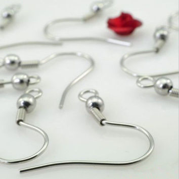 21*3mm 316L Stainless Steel Ear Wires Hooks ~With Bead + Coil ~ Earring Jewelry Finding Accessories