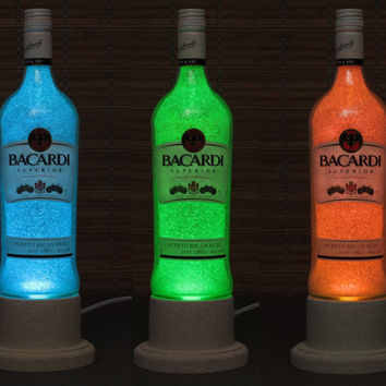 Bacardi Rum Color Changing Bottle Lamp LED Remote Controlled Eco Friendly rgb LED/Party Light / Intense Sparkle-Bodacious Bottles-