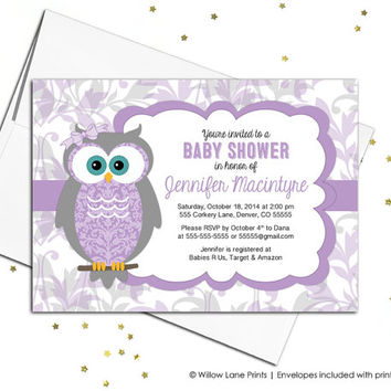 Baby girl baby shower Invitations owl, gray and purple owl baby shower invites, purple shower invitation, printable or printed - WLP00730