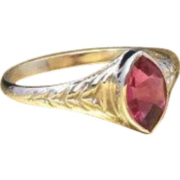 Antique Early 1900s - Late Edwardian - Early Art Deco Unique Mixed Cut Marquise Buff-Top Created Pink Garnet Solitaire Ring Crafted in Engraved 10k White Gold Currently a Size 5.75