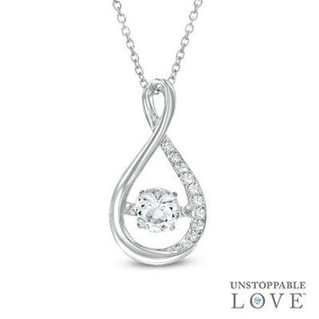 Unstoppable Love™ 4.5mm Lab-Created White Sapphire Infinity Pendant in Sterling Silver - View All Necklaces - Zales