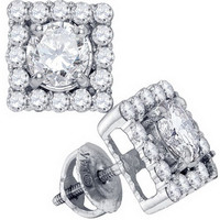 Diamond 0.50x2 Fashion Earrings in 14k White Gold 1.7 ctw