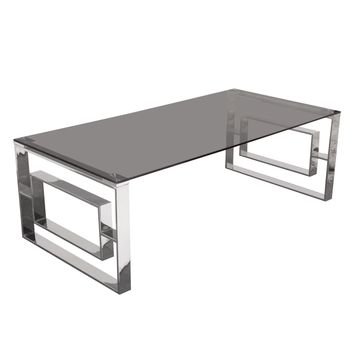 Muse Rectangular Cocktail Table with Smoked Tempered Glass Top and Polished Stainless Steel Base
