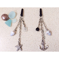 Shell Dust Plugs Summer Beach Nautical Antique Silver (Mermaid, Anchor, Octopus, Starfish -- 1 choice) Buy 2, Get 1 FREE!