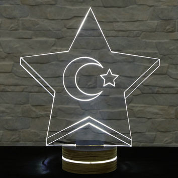 Star Shape, Crescent and Star, 3D LED Lamp, Flag Emblem, Table Lamp, Office Decor, Plexiglass Lamp, Decorative Lamp, Acrylic Night Light
