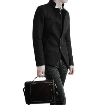 Men Black Long Sleeve Notched Lapel Buttoned Worsted Coat