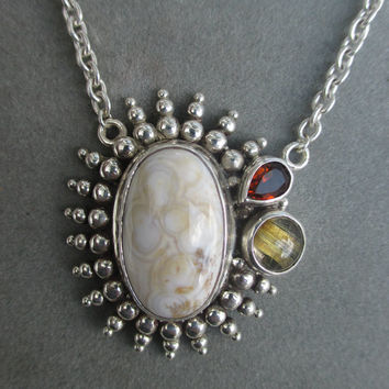One of a Kind Sterling Silver Jasper Pendant