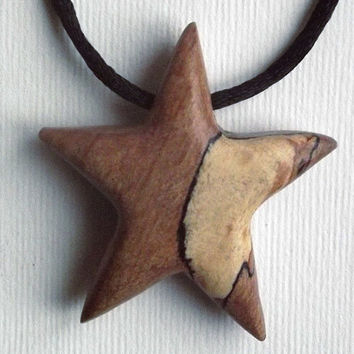 Star Necklace, Wooden Pendant Hand Carved. Star Pendant, Star Jewelry, Star Necklace, Nature, Men's, Tribal, Surfer