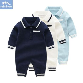 Newborn Infant Kids Baby Boys Knit Romper Polo Sweater Toddler rompers Clothing Long Sleeved 2018 Autumn Clothes One-Piece