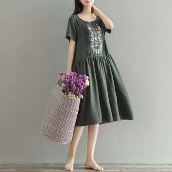 LARGE SIZE WOMEN EMBROIDERED SHORT-SLEEVED COTTON AND LINEN DRESS TIDE