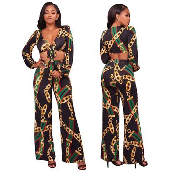 Chains Print Plung Crop Top and Wide Legged Pants