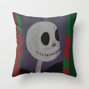 JACK SKELLINGTON/NIGHTMARE BEFORE CHRISTMAS Throw Pillow by Kathead Tarot