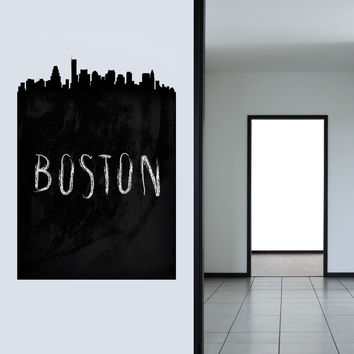 Boston Chalkboard Skyline wall decal