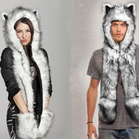 NEW Classy Faux Fur Long Scarf Animal Print Hood Configuration