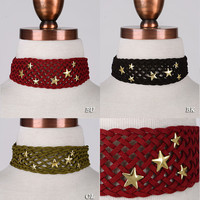 """Women Gothic Wide Band Weaved Suede Gold Metal Star CHOKER Chain NECKLACE 12"""""""