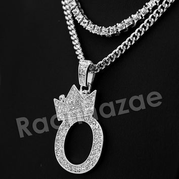 Iced Out Crown O Initial Pendant Necklace Set.