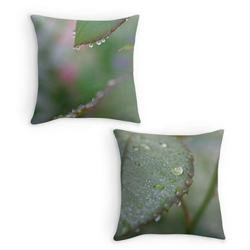 Green Throw Pillow, Dew Drops Photo Scatter Cushion, 16x16, Minimalist, Zen, Cushion Cover