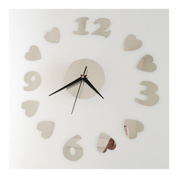 Love Heart Silent Casual Wall Clock Decoration Mirror   silver