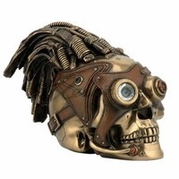Bronze Steampunk Skull with Wire Hair and Leather Goggles Sculpture - Veronese Collection