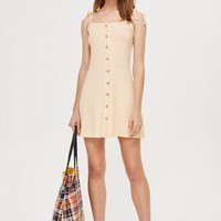Button Ribbed Mini Skater Dress | Topshop