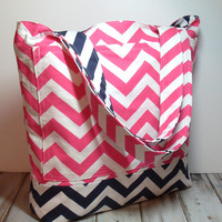 Pink Navy Tote Bag - Beach Bag - Beach Tote Bag - Chevron Beach Bag - Large Beach Bag - Summer Tote Bag - Travel Tote Bag - Pink Tote