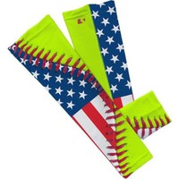 USA Flag Softball Lace Arm Sleeve L 2- Pack