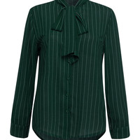 Green Stripe Print Bowknot Collar Shirt