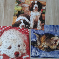 Vintage Jigsaw puzzles, Children puzzle ,set 9 cardboard puzzles,unused puzzles,animals puzzle