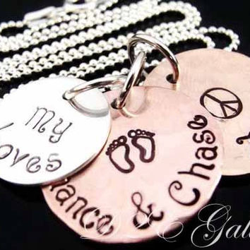 D2E Hand stamped Mothers Jewelry, Mixed metal Recycled Lucky penny and sterling silver hand stamped necklace