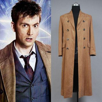 Cosplay Doctor Who Dr. Brown Long Trench Coats Costume Custom Made