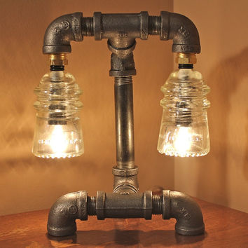Industrial style pipe lamp with clear from trowedesigns on for Industrial lamp kit